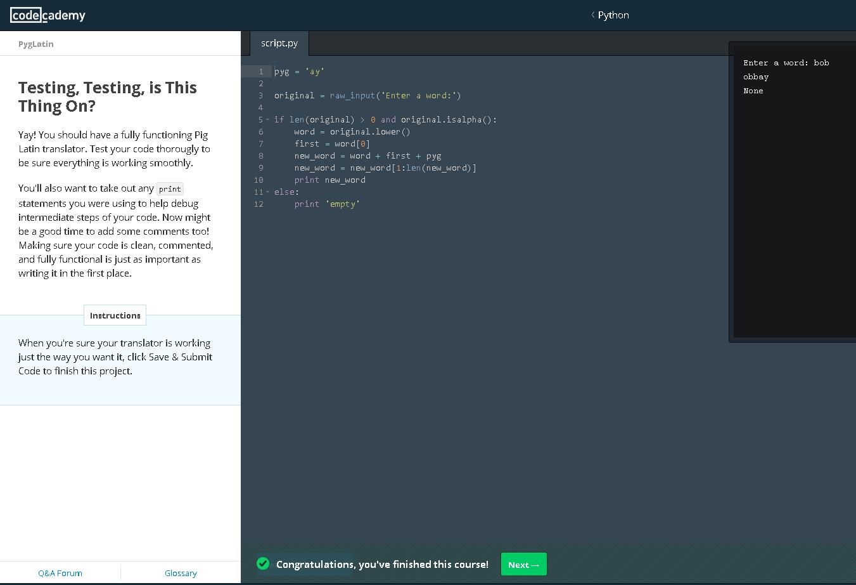 Piglatin Python codeacademy